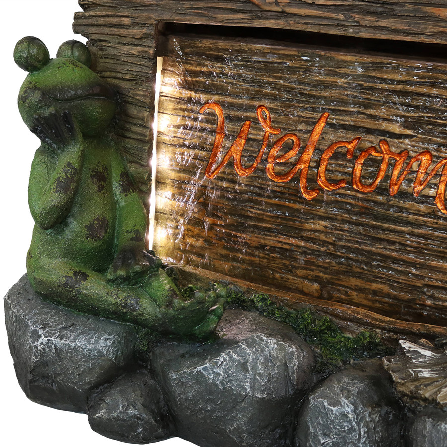 Closeup of Frog and Welcome Sign