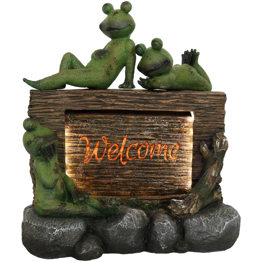 Frogs with Welcome Sign Outdoor Water Fountain Decor with LED Lights