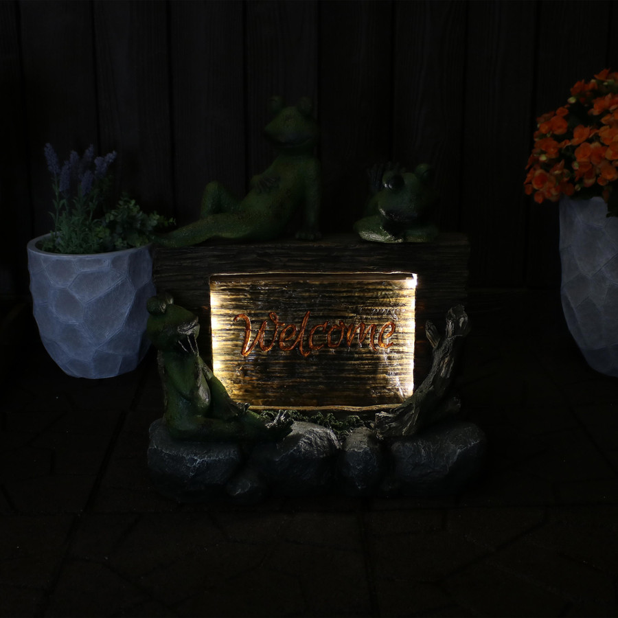 Frogs with Welcome Sign Outdoor Water Fountain Decor with LED Lights Dark