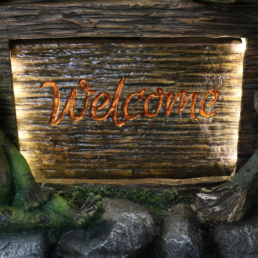 Frogs with Welcome Sign Outdoor Water Fountain Decor with LED Lights Sign Closeup