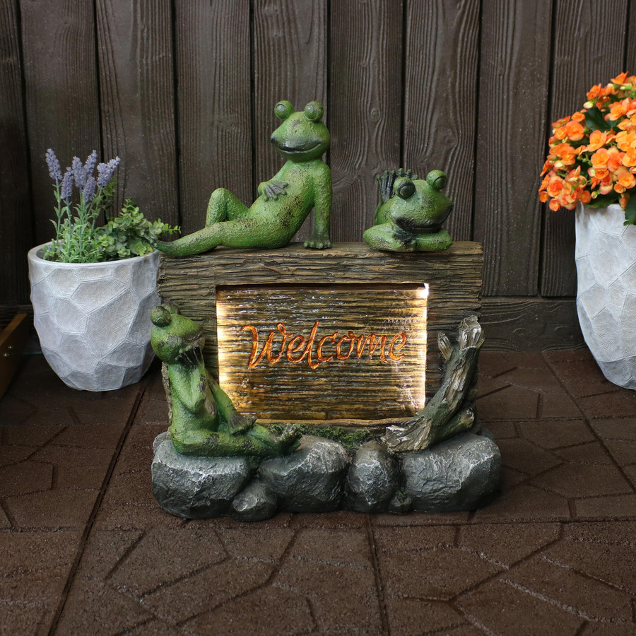 Sunnydaze Frogs with Welcome Sign Outdoor Water Fountain Decor with LED Lights, 22-Inch