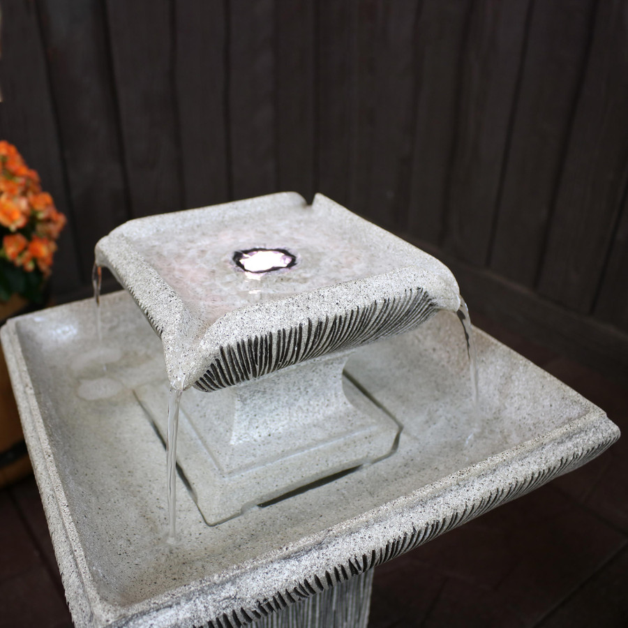 2-Tier Outdoor Bird Bath Water Fountain Top