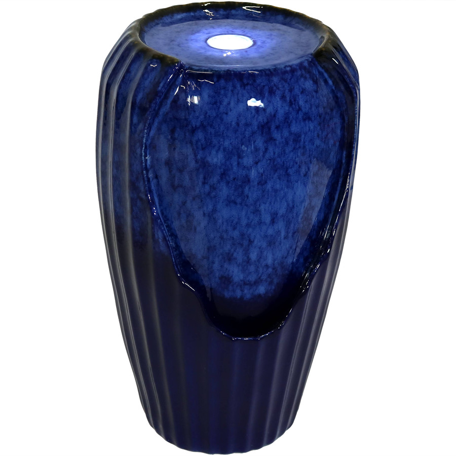 Blue Ceramic Vase Outdoor Water Fountain with LED Lights