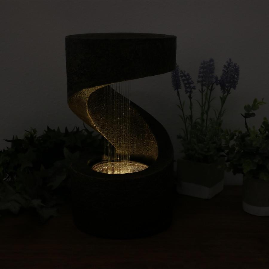 Winding Showers Tabletop Water Fountain, Nighttime