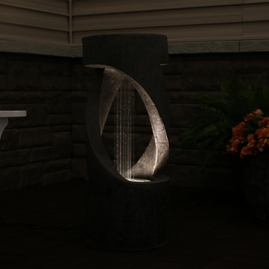 Contemporary Double Helix Outdoor Water Fountain , Nighttime