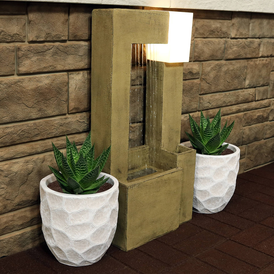 """9"""" Set of 2 Light Gray (Fountain Not Included)"""