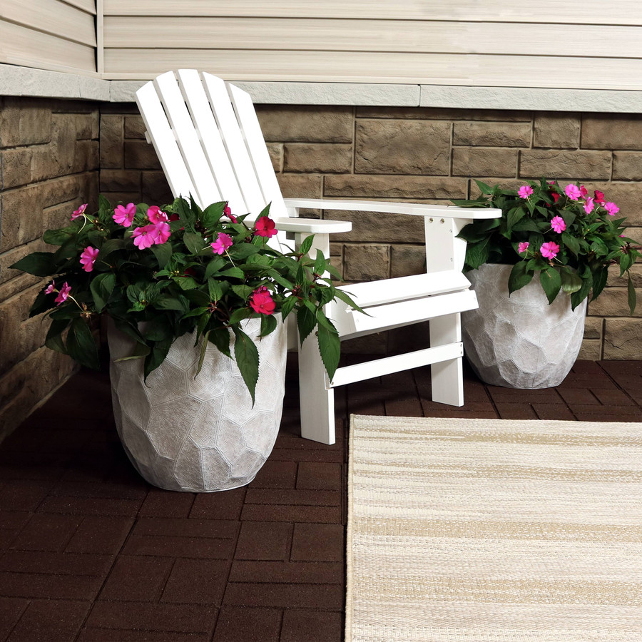 Sunnydaze Homestead Fiber Clay Planter Flower Pot, Durable Indoor/Outdoor Sets, Carved Stone, Multiple Sizes and Colors Available