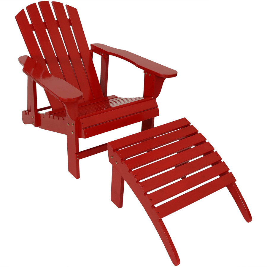 Wooden Outdoor Adirondack Chair with Adjustable Backrest and Ottoman Set, Red