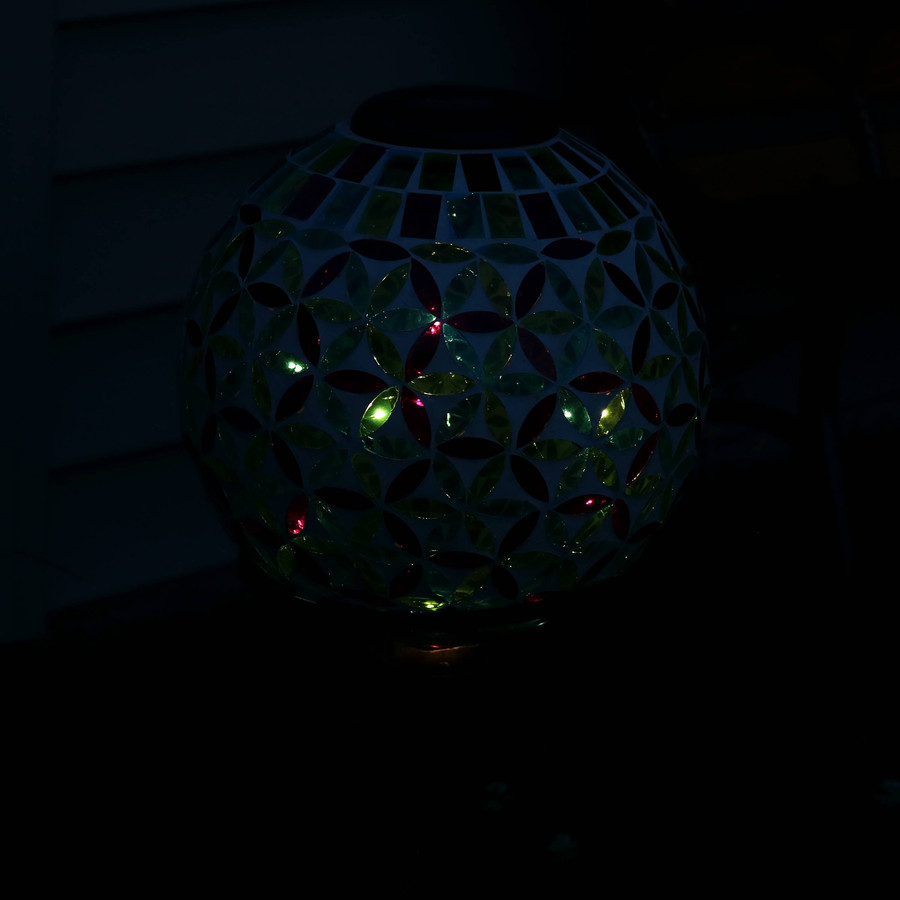 Cool Blooms Glass Mosaic Garden Gazing Globe with Solar Light, Nighttime