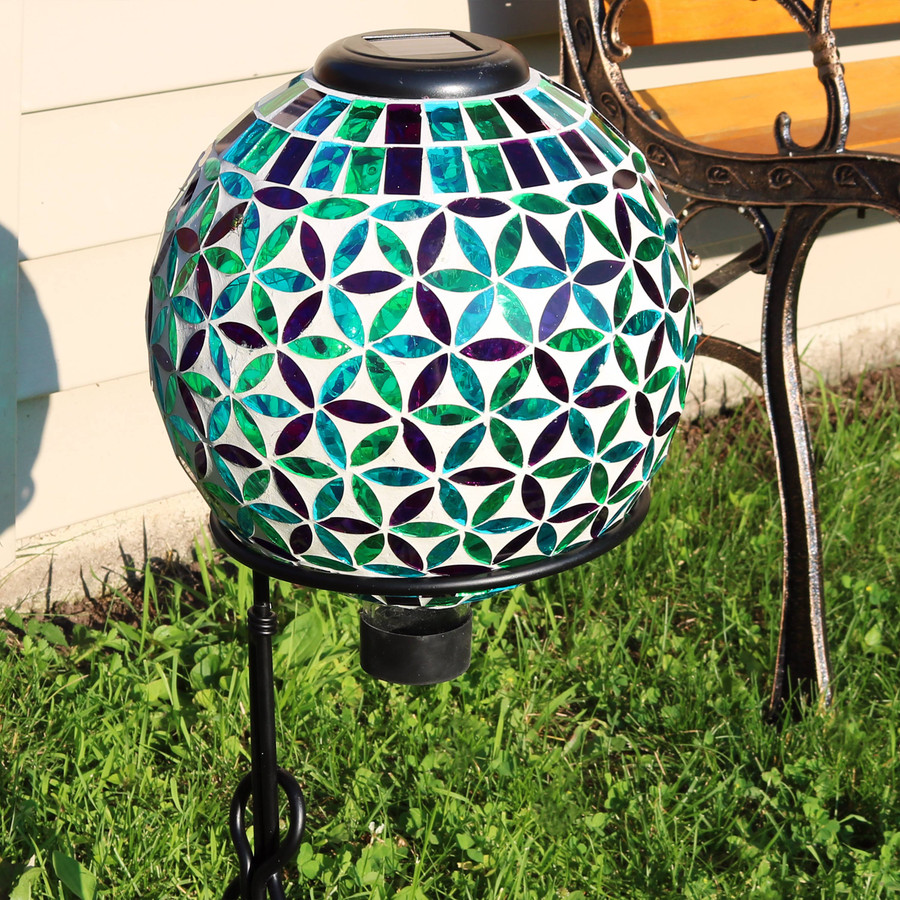 Cool Blooms Glass Mosaic Garden Gazing Globe with Solar Light