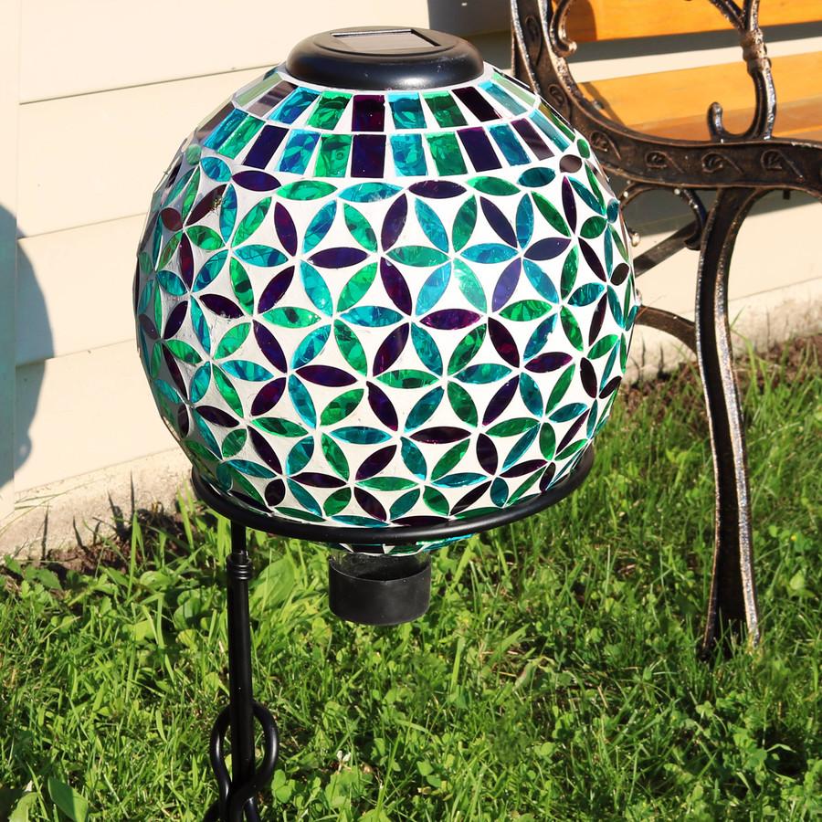 Cool Blooms Glass Mosaic Garden Gazing Globe with Solar Light
