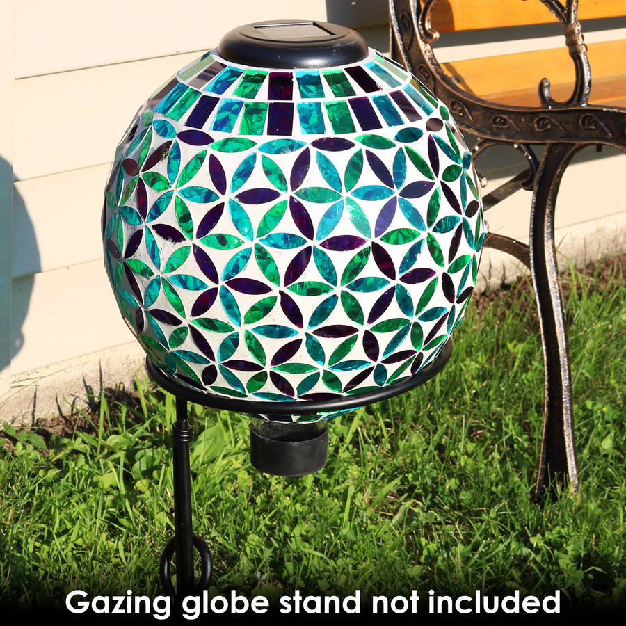 Cool Blooms Glass Mosaic Garden Gazing Globe with Solar Light--- Stand not included