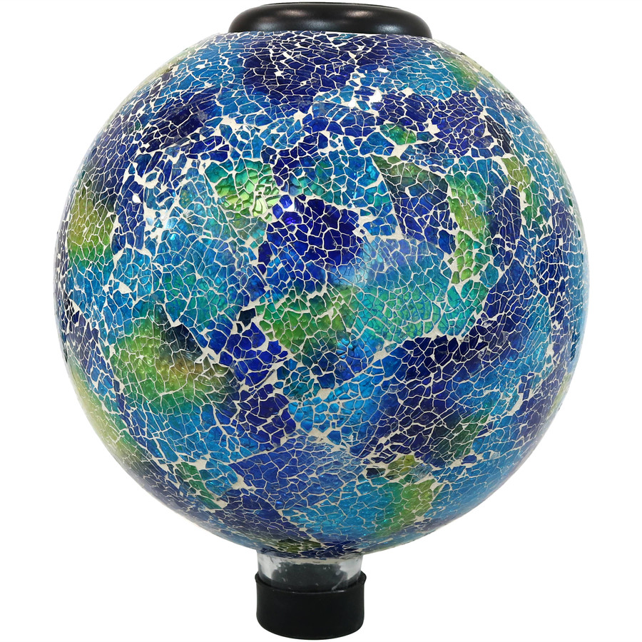 Azul Terra Glass Mosaic Garden Gazing Globe with Solar Light
