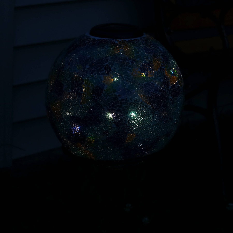 Azul Terra Glass Mosaic Garden Gazing Globe with Solar Light, Nighttime