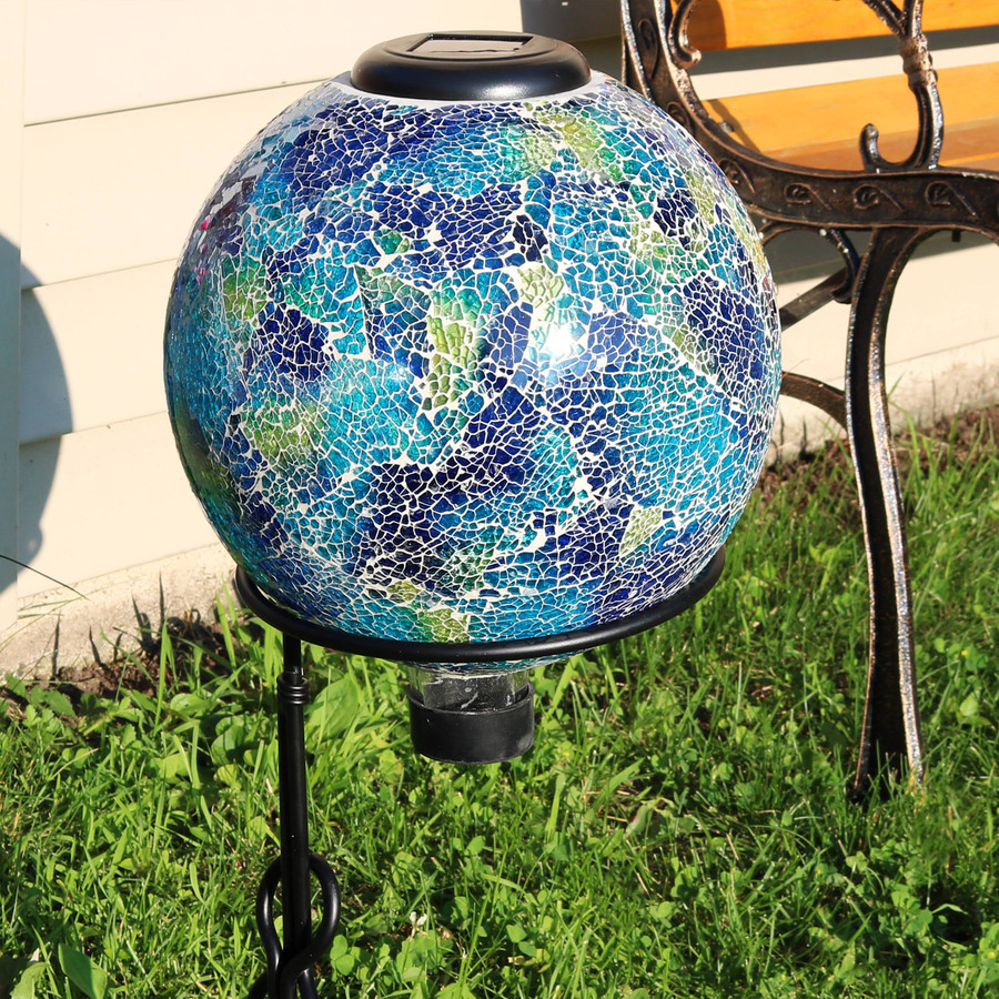 Azul Terra Glass Mosaic Garden Gazing Globe with Solar Light -- Stand not included