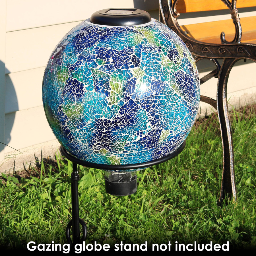 Azul Terra Glass Mosaic Garden Gazing Globe with Solar Light -- Stand not included