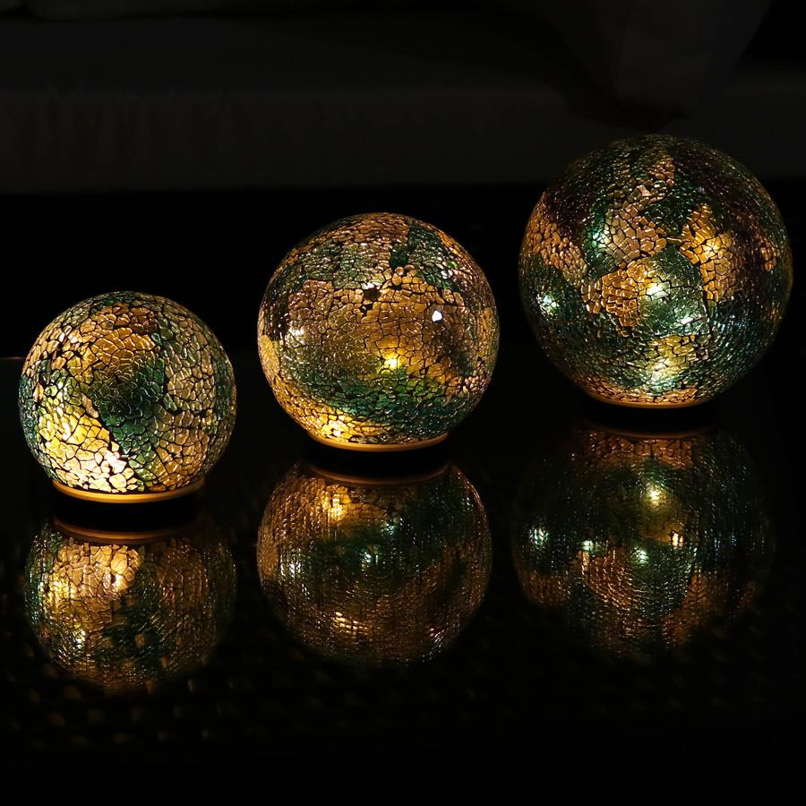 Ocean Dreams Tabletop Lighted Garden Gazing Globes, Lights On at Night