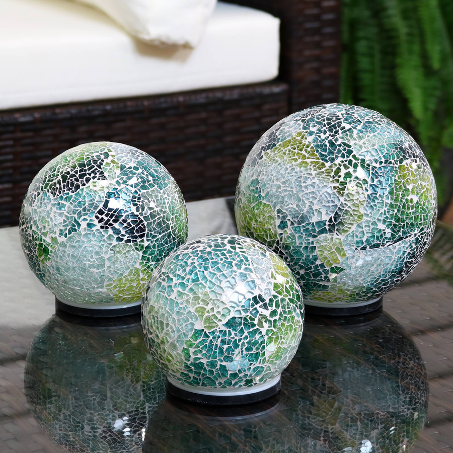 Ocean Dreams Tabletop Lighted Garden Gazing Globes