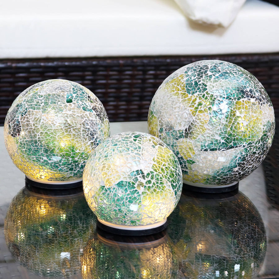 Ocean Dreams Tabletop Lighted Garden Gazing Globes, Lights On
