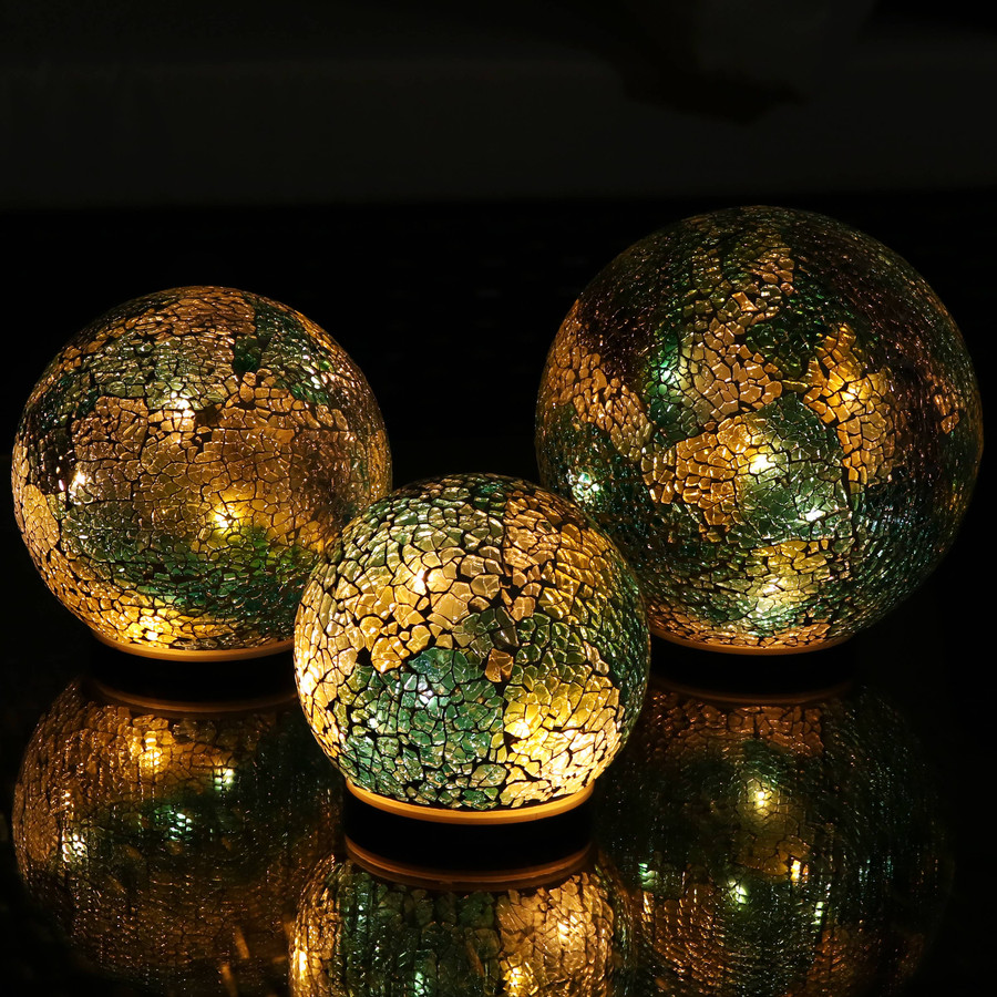 Ocean Dreams Tabletop Lighted Garden Gazing Globes, Lights On at Night