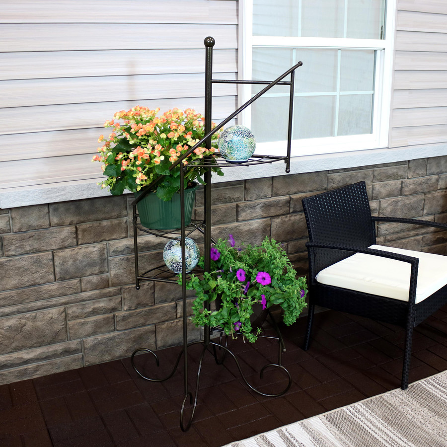 Ocean Dreams Tabletop Lighted Garden Gazing Globes, Pictured on 4-Tier Spiral Staircase Iron Plant Stand (Please Note, Iron Plant Stand NOT Included)