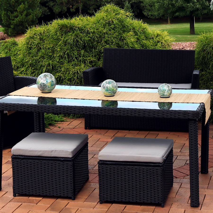 Ocean Dreams Tabletop Lighted Garden Gazing Globes, Pictured on Patio Dining Set (Please Note, Dining Set NOT Included)