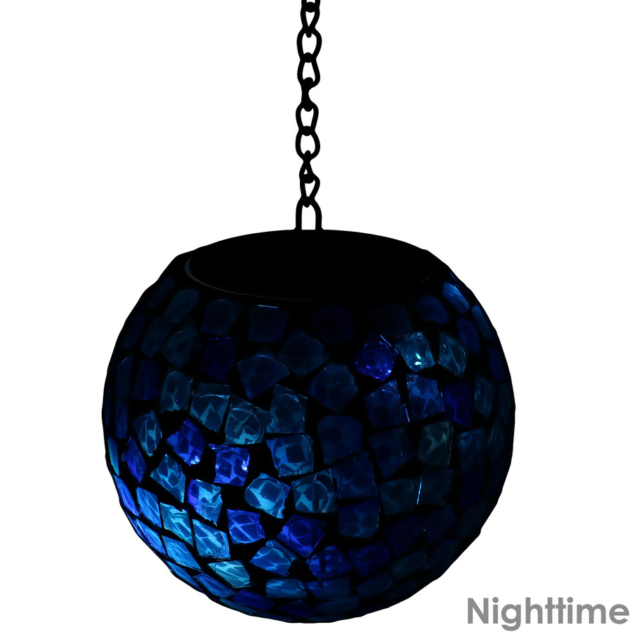 Midnight Moon Mosaic Solar Hanging Orb with LED Light, Nighttime