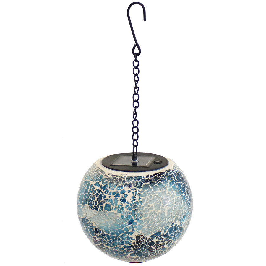 Sea Mist Mosaic Solar Hanging Orb with LED Light, Full View