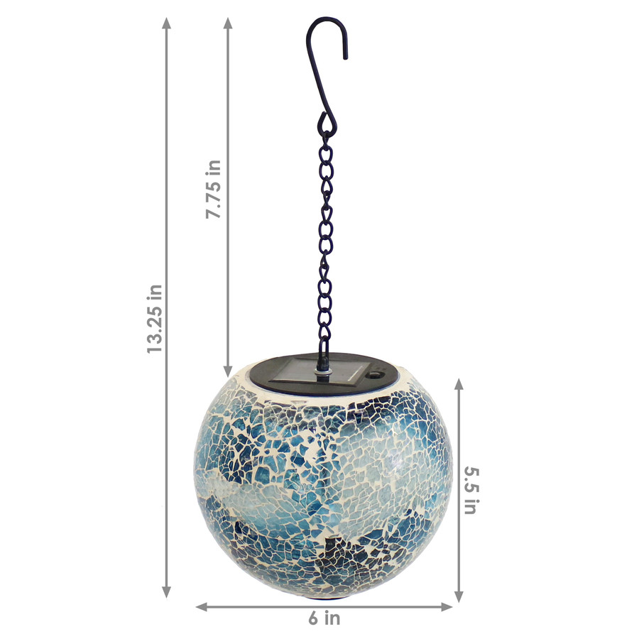 Sunnydaze Sea Mist Mosaic Solar Hanging Orb with LED Light, 6-Inch