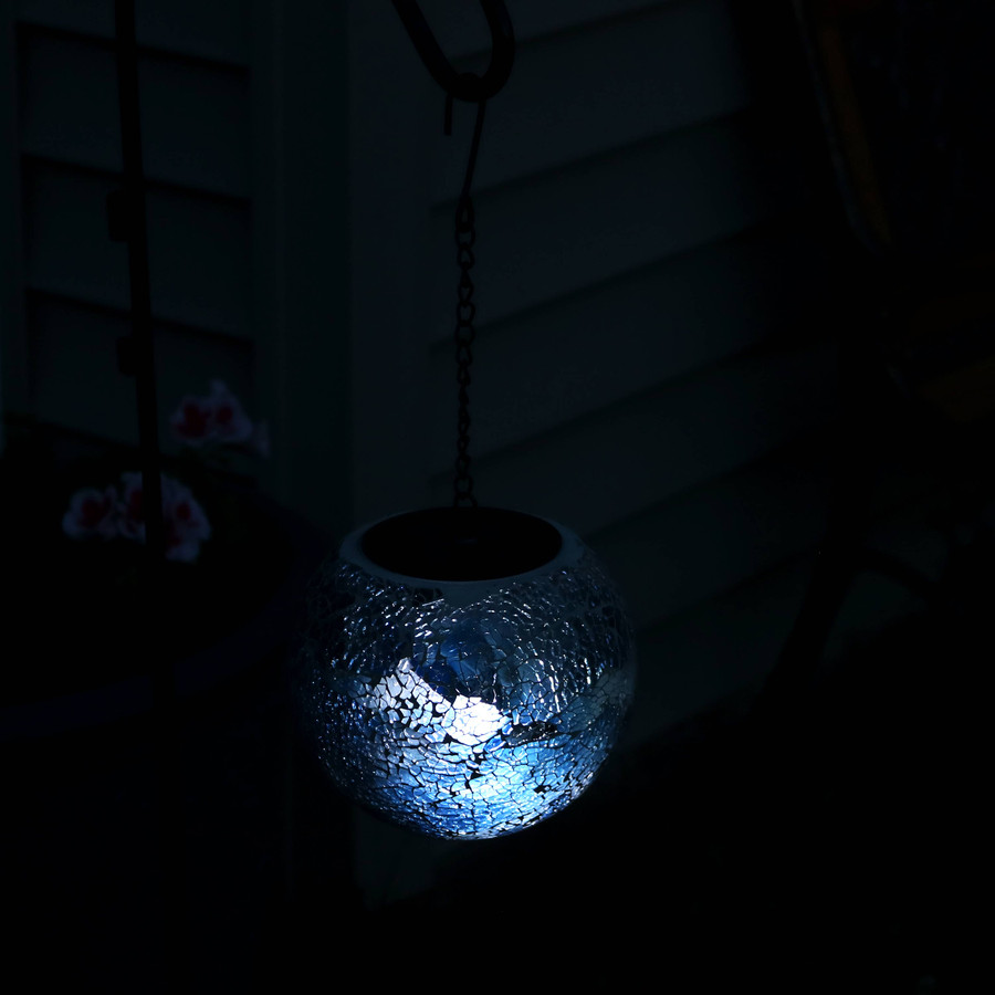 Sea Mist Mosaic Solar Hanging Orb with LED Light, Nighttime