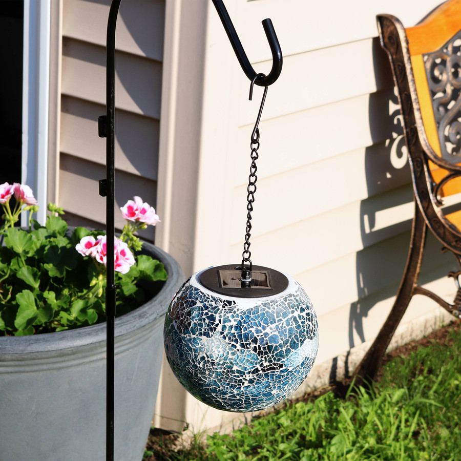 Sea Mist Mosaic Solar Hanging Orb with LED Light