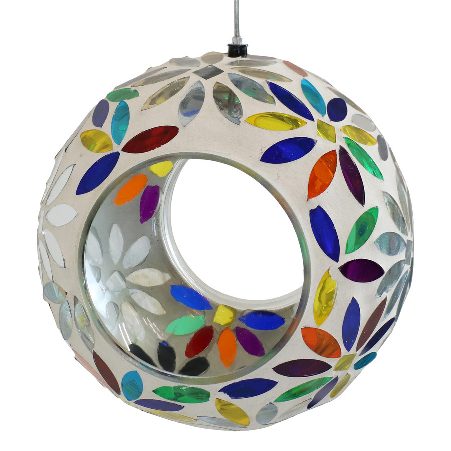 Rainbow Daisies Mosaic Glass Fly-Through Hanging Bird Feeder