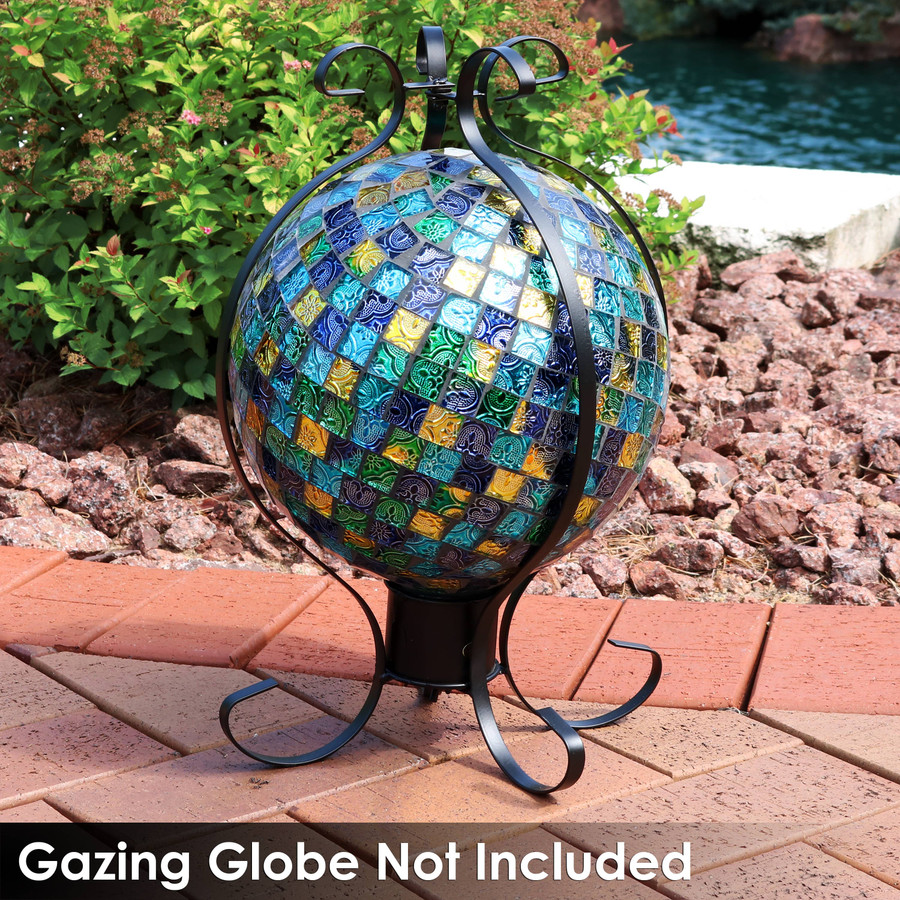 Flourishing Enclosed Metal Gazing Globe Stand with Gazing Globe
