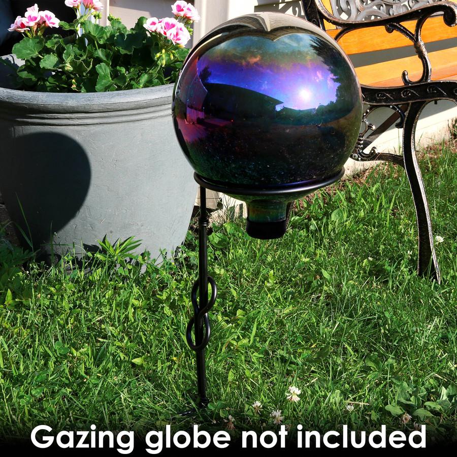 Sunnydaze Single Stem Metal Gazing Globe Stand, 15-Inch