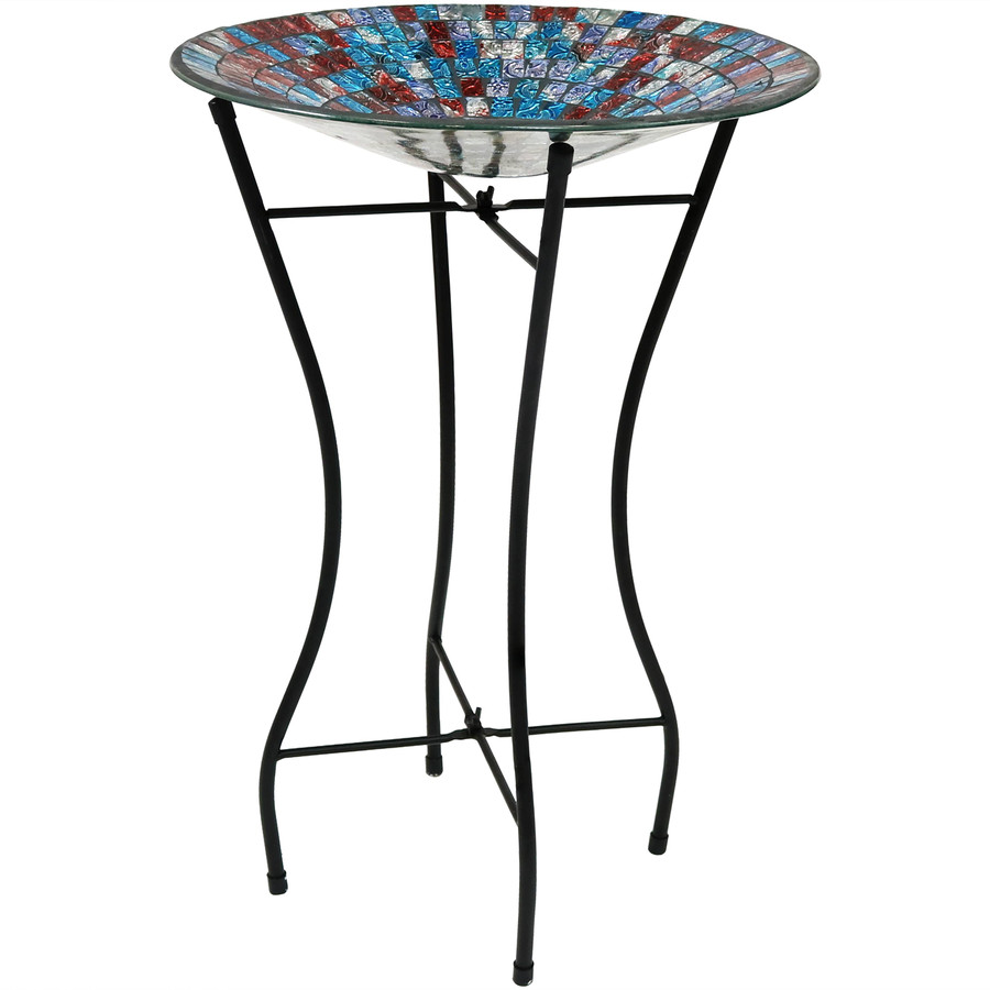 Multi-Color Mosaic Tile Outdoor Bird Bath with Stand