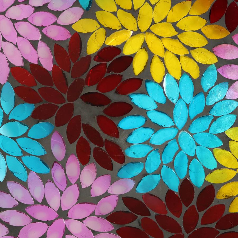 Closeup of Multi-Color Mosaic Petals Detail