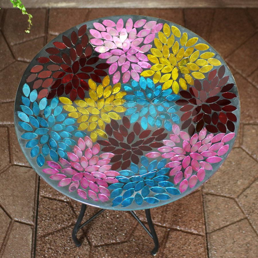 Sunnydaze Multi-Color Mosaic Petals Outdoor Bird Bath with Stand, 14-Inch Diameter