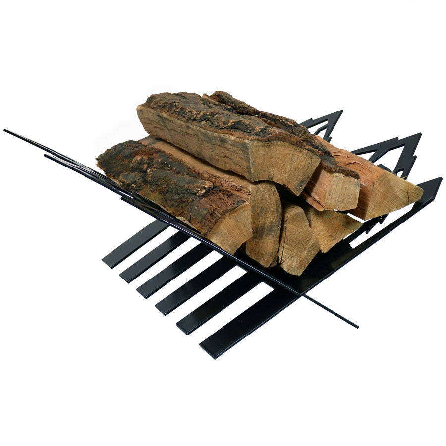 Sunnydaze Small Mountainside Indoor/Outdoor Fireplace Firewood Log Rack Holder, Steel Construction, 18-Inch