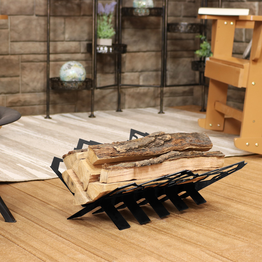 Small Mountainside Indoor/Outdoor Fireplace Firewood Log Rack Holder