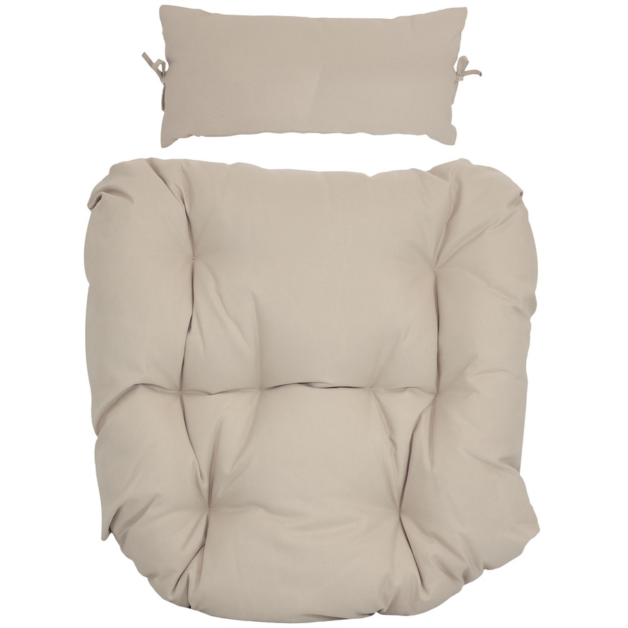 Replacement Seat Cushion and Headrest Pillow for Danielle Egg Chair, Beige
