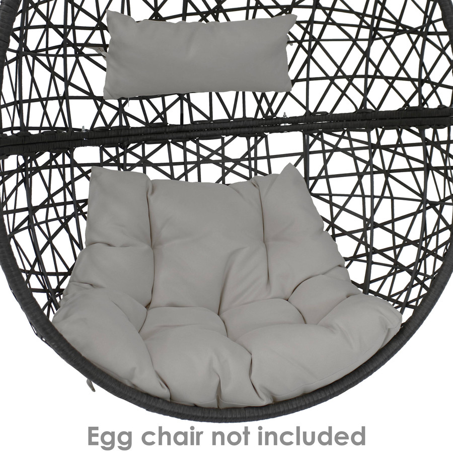 Replacement Seat Cushion and Headrest Pillow for Caroline Egg Chair, Gray
