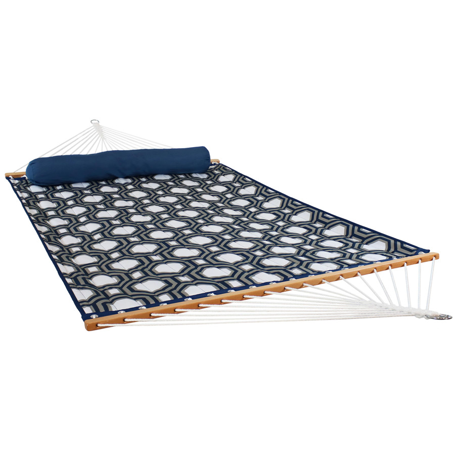 2-Person Quilted Fabric Hammock with Spreader Bars, Navy and Gray Octogan