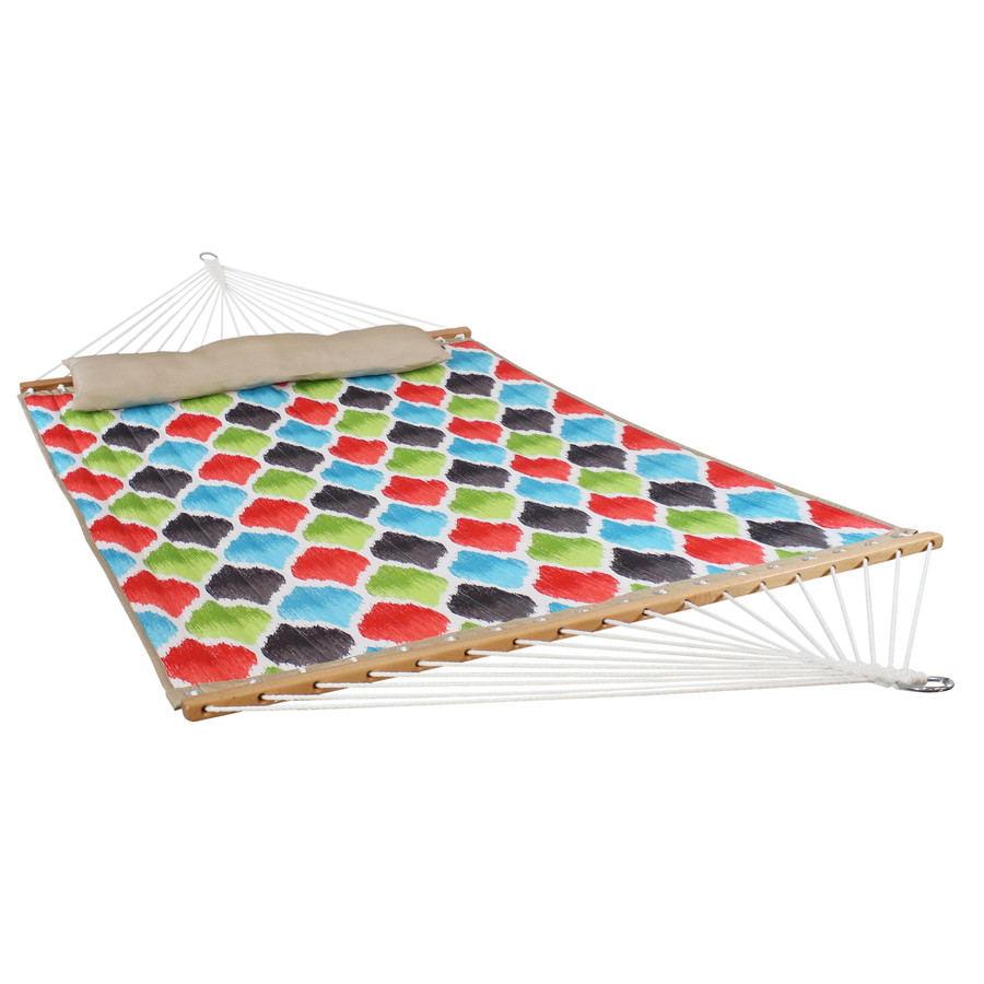 2-Person Quilted Fabric Hammock with Spreader Bars, Vivid Multi-Color Quatrefoil