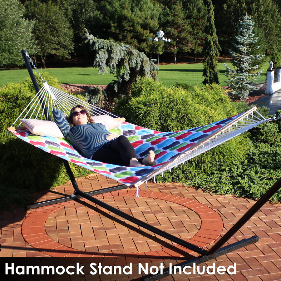 2-Person Quilted Fabric Hammock with Spreader Bars, Vivid Multi-Color Quatrefoil (Stand Not Included)