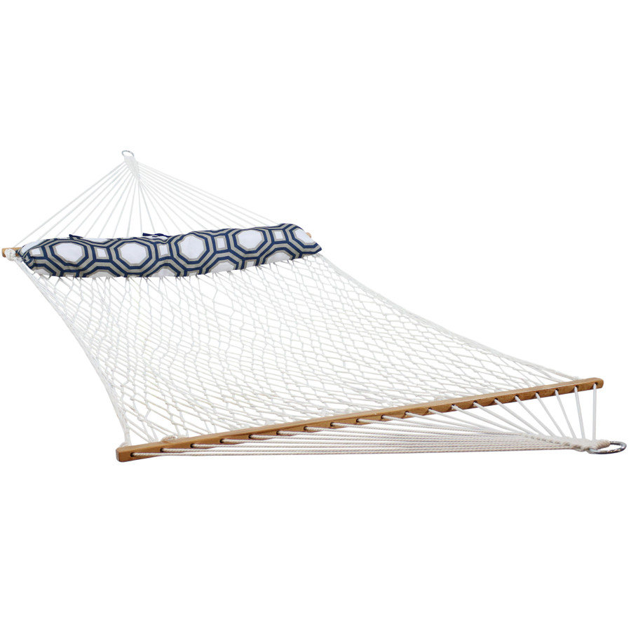 2 Person Polyester Rope Hammock with Spreader Bars and Pillow
