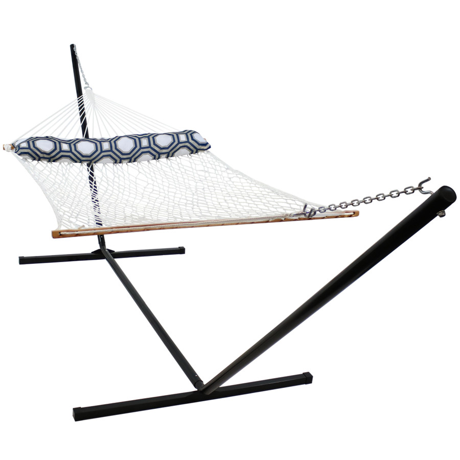 2 Person Polyester Spreader Bar Rope Hammock and Pillow with 15 Foot Steel Stand