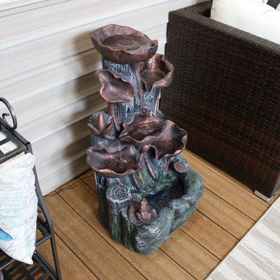 Outdoor Tiered Driftwood and Flourishing Stems Cascading Water Fountain