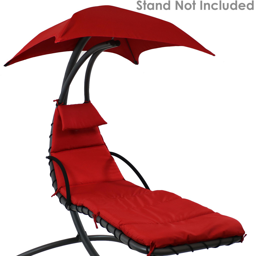 Red Replacement Cushions Shown on Floating Chaise Lounge Chair (Chaise Lounge Chair Not Included)