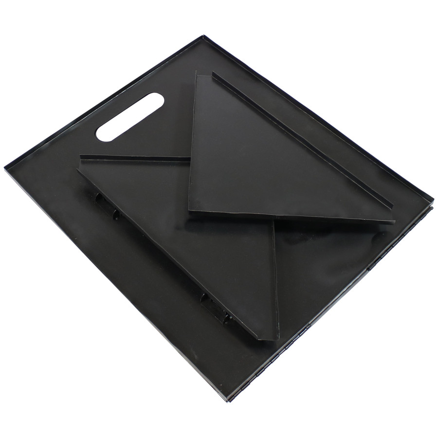 Indoor and Outdoor Folding Black Steel Log Rack, Folded