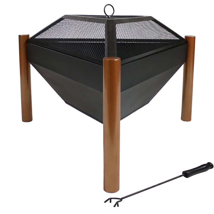 Outdoor Wood Burning Steel Triangle Fire Pit and Coffee Table (with Spark Screen on)